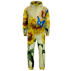 Backdrop Colorful Butterfly Hooded Jumpsuit (men)