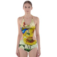 Backdrop Colorful Butterfly Cut-Out One Piece Swimsuit