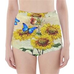 Backdrop Colorful Butterfly High Waisted Bikini Bottoms