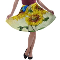 Backdrop Colorful Butterfly A Line Skater Skirt