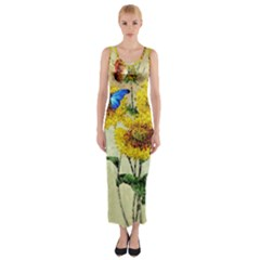 Backdrop Colorful Butterfly Fitted Maxi Dress