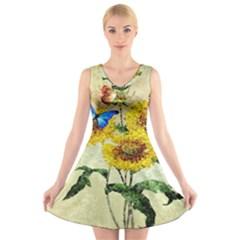 Backdrop Colorful Butterfly V Neck Sleeveless Skater Dress