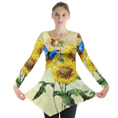 Backdrop Colorful Butterfly Long Sleeve Tunic