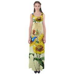 Backdrop Colorful Butterfly Empire Waist Maxi Dress