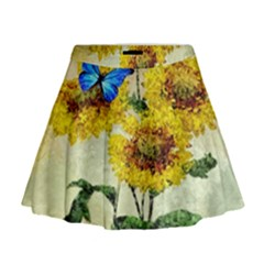 Backdrop Colorful Butterfly Mini Flare Skirt