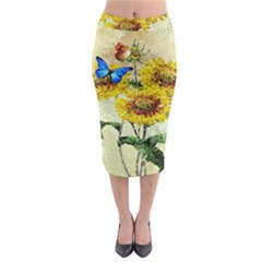 Backdrop Colorful Butterfly Midi Pencil Skirt