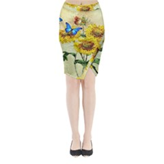Backdrop Colorful Butterfly Midi Wrap Pencil Skirt