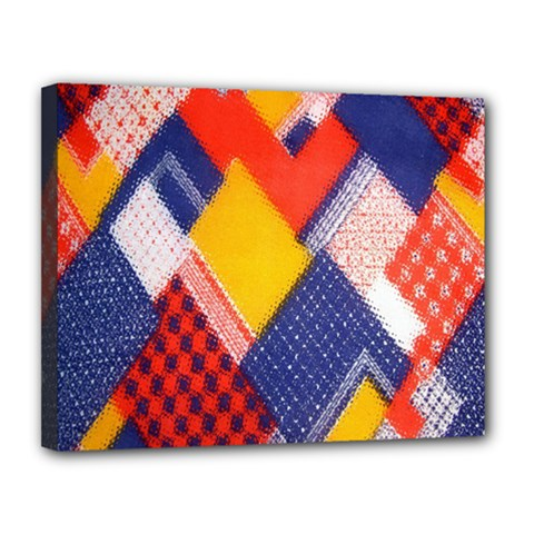 Background Fabric Multicolored Patterns Canvas 14  x 11