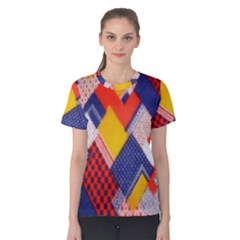 Background Fabric Multicolored Patterns Women s Cotton Tee
