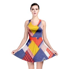 Background Fabric Multicolored Patterns Reversible Skater Dress
