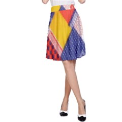 Background Fabric Multicolored Patterns A Line Skirt