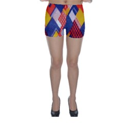 Background Fabric Multicolored Patterns Skinny Shorts