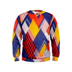Background Fabric Multicolored Patterns Kids  Sweatshirt
