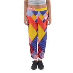Background Fabric Multicolored Patterns Women s Jogger Sweatpants