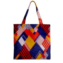 Background Fabric Multicolored Patterns Zipper Grocery Tote Bag