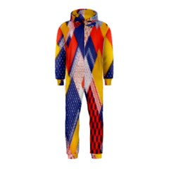 Background Fabric Multicolored Patterns Hooded Jumpsuit (kids)