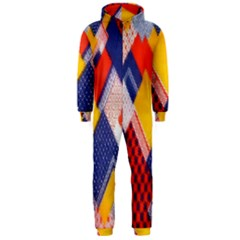 Background Fabric Multicolored Patterns Hooded Jumpsuit (men)