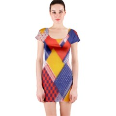 Background Fabric Multicolored Patterns Short Sleeve Bodycon Dress