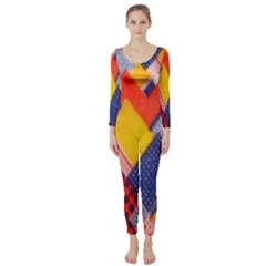 Background Fabric Multicolored Patterns Long Sleeve Catsuit
