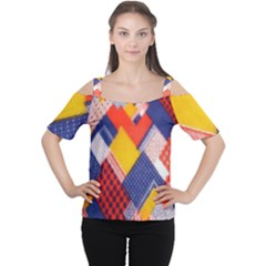 Background Fabric Multicolored Patterns Women s Cutout Shoulder Tee