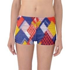 Background Fabric Multicolored Patterns Boyleg Bikini Bottoms