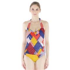 Background Fabric Multicolored Patterns Halter Swimsuit