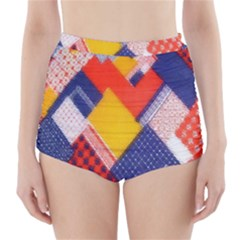 Background Fabric Multicolored Patterns High Waisted Bikini Bottoms