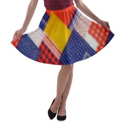 Background Fabric Multicolored Patterns A-line Skater Skirt
