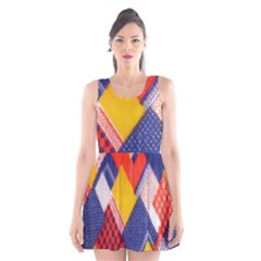 Background Fabric Multicolored Patterns Scoop Neck Skater Dress