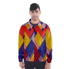 Background Fabric Multicolored Patterns Wind Breaker (men)