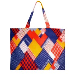 Background Fabric Multicolored Patterns Large Tote Bag