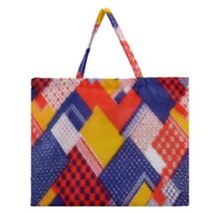 Background Fabric Multicolored Patterns Zipper Large Tote Bag