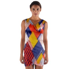 Background Fabric Multicolored Patterns Wrap Front Bodycon Dress