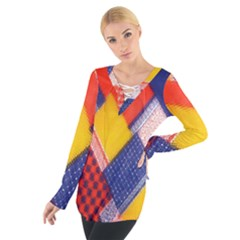 Background Fabric Multicolored Patterns Women s Tie Up Tee