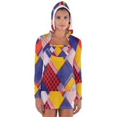 Background Fabric Multicolored Patterns Women s Long Sleeve Hooded T-shirt