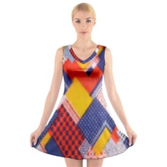 Background Fabric Multicolored Patterns V Neck Sleeveless Skater Dress
