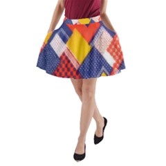 Background Fabric Multicolored Patterns A Line Pocket Skirt