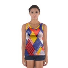 Background Fabric Multicolored Patterns Women s Sport Tank Top