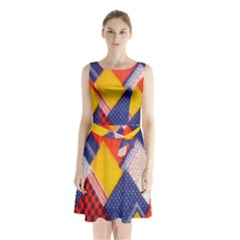 Background Fabric Multicolored Patterns Sleeveless Chiffon Waist Tie Dress