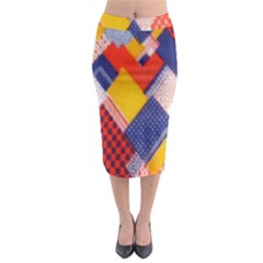 Background Fabric Multicolored Patterns Midi Pencil Skirt