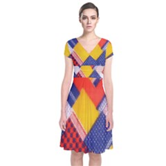 Background Fabric Multicolored Patterns Short Sleeve Front Wrap Dress