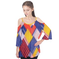 Background Fabric Multicolored Patterns Flutter Tees