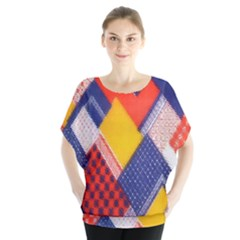 Background Fabric Multicolored Patterns Blouse