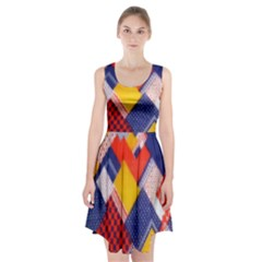 Background Fabric Multicolored Patterns Racerback Midi Dress