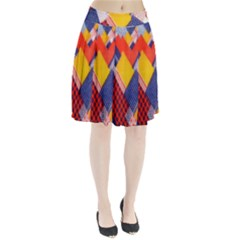 Background Fabric Multicolored Patterns Pleated Skirt