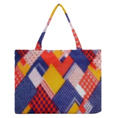 Background Fabric Multicolored Patterns Medium Zipper Tote Bag