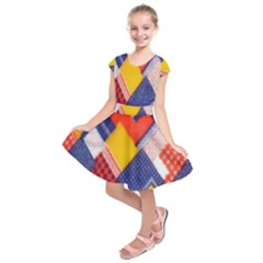 Background Fabric Multicolored Patterns Kids  Short Sleeve Dress