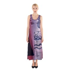 Background Fabric Patterned Blue White And Red Sleeveless Maxi Dress