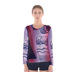 Background Fabric Patterned Blue White And Red Women s Long Sleeve Tee