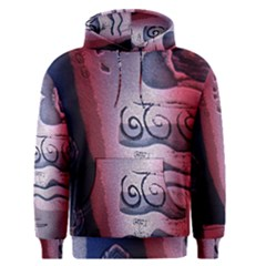 Background Fabric Patterned Blue White And Red Men s Pullover Hoodie
